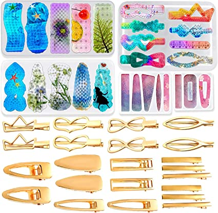 N A Cayway 29 Pz Stampo in Resina Siliconica 4 PCS Stampi a Forcina Stampi per Capelli in Resina e 24 Pz Forcina per DIY Forcina Gioielli Hair Clip Resin Mold