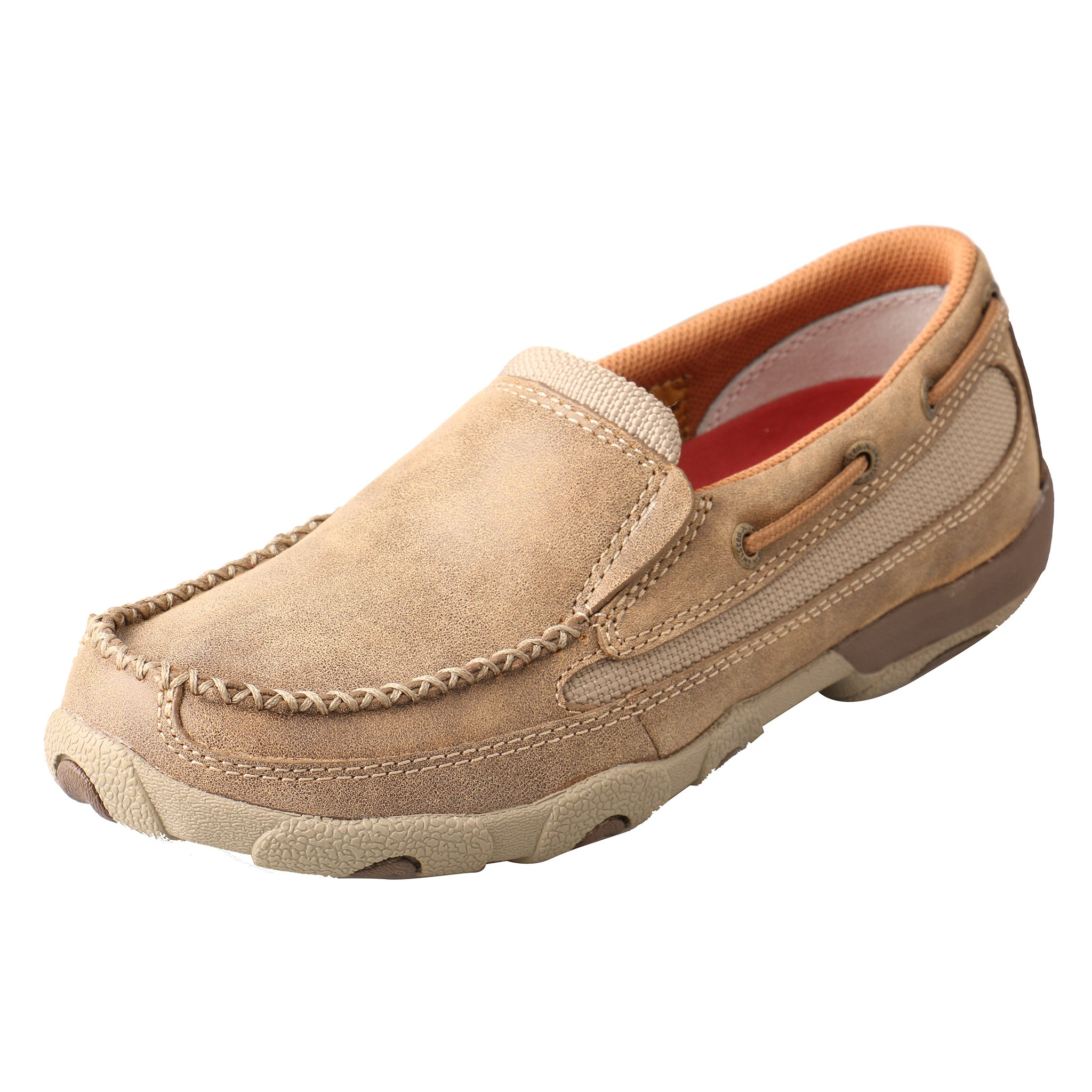 Twisted X Women's Leather Slip-On Rubber Sole Moc Toe Driving Moccasins - Bomber