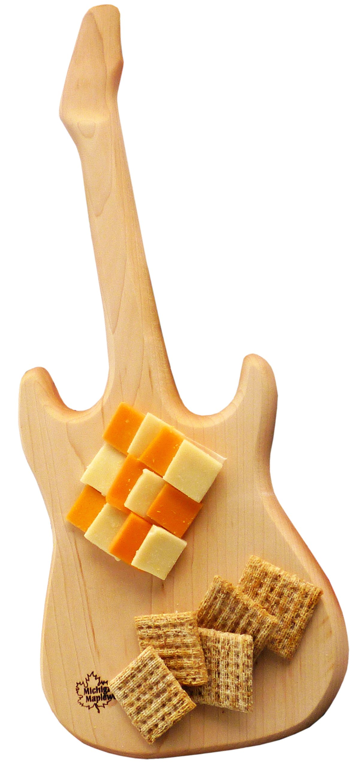 ELECTRIC GUITAR Shaped Solid Wood Maple Cutting Board Gift Set - MADE IN USA. Guitar Serving Board | Housewarming Gift or Music Gift for Home Decor