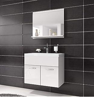 Badezimmer Badmöbel Set Montreal 02 60cm Waschbecken Hochglanz Weiß Fronten    Unterschrank Waschtisch Spiegel Möbel