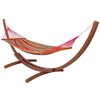 best choiceproducts wooden curved arc hammock stand with cotton hammock outdoor garden patio amazon     best choiceproducts wooden curved arc hammock stand      rh   amazon