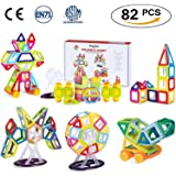 Theefun Magnetic Building Blocks, 82 Piece Toys For Boys Girls, Magnet Tiles Kits For Kid,Colourful