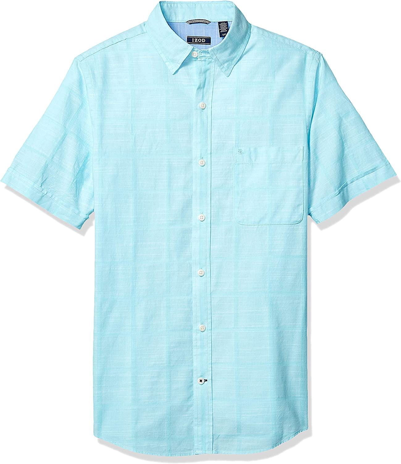 IZOD Men's Saltwater Short Sleeve Windowpane Button Down Shirt at  Men's Clothing store