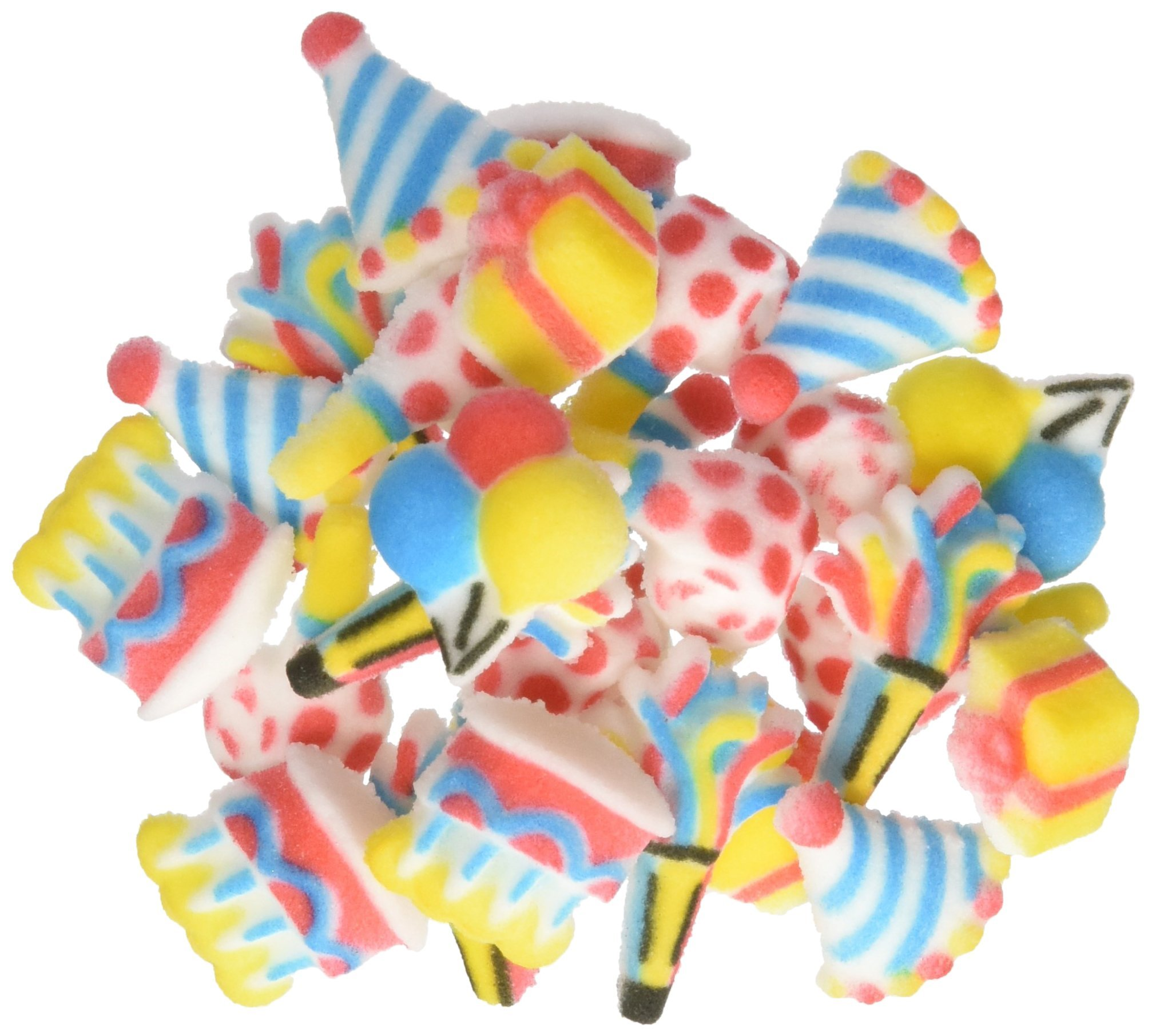 Lucks Dec-Ons Molded Sugar Cupcake Topper, Mini Birthday Assortment, 7/8-1 1/2 Inch, 210 Count