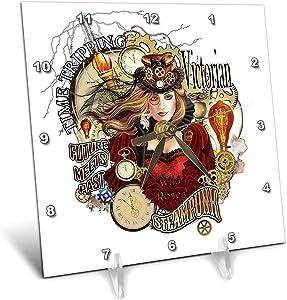 3dRose Dream Essence Designs-Steampunk - Steampunk Rose in Victorian Style Dress cogs and Gears. Digital Art - 6x6 Desk Clock (dc_324478_1)