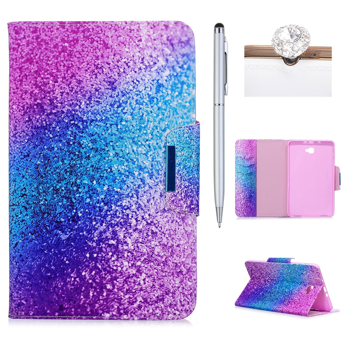 Galaxy Tab A 10.1'' Case, Galaxy Tab A 10.1 Marble Case,Felfy Premium Leather Galaxy Tab A 10.1'' Case Cover Wallet Flip/Magnetic Closure/Card Slots Kickstand Holster with Luxury Colorful Panting Marble Series Pattern Fold Smart Phone Shell Drop Protection