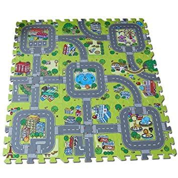 f179c132984 Alfombra puzzle de goma EVA para niños. Diseño de circuito de tráfico. 90 x  90 x 1 cm. 9 piezas intercambiables.  Amazon.es  Bebé