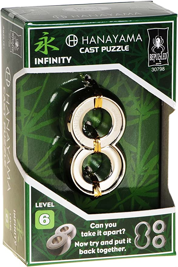 INFINITY Hanayama Cast Metal Brain Teaser Puzzle /_ New 2017 Design /_ Level 6 Difficulty Rating /_ Bonus Red Velveteen Drawstring Pouch /_ Bundled Items Deluxe Games and Puzzles SG/_B071R62ZXH/_US