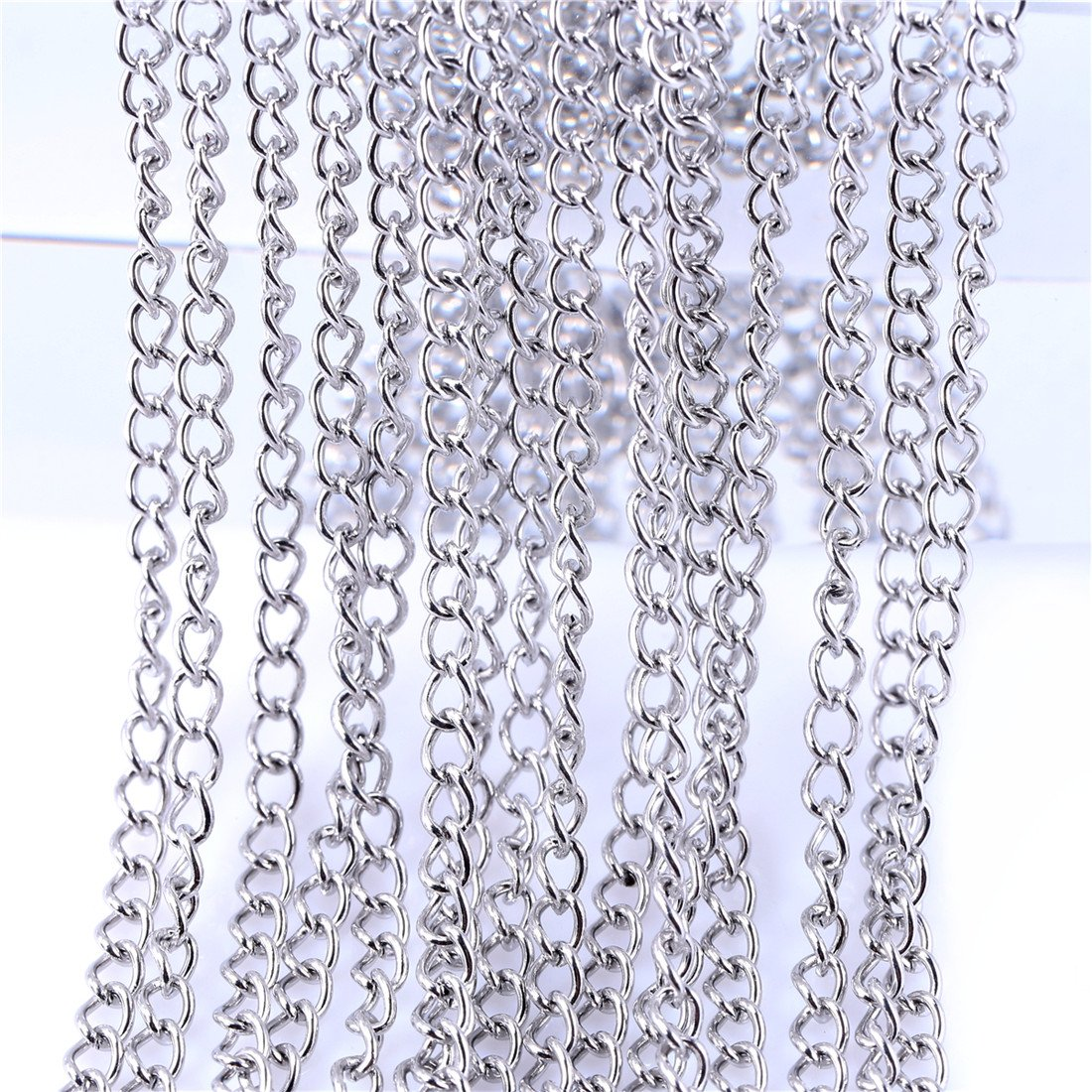 33FT Stainless Steel Cable Chain Link in Bulk for Necklace Jewelry Accessories DIY Making 2.5x3mm