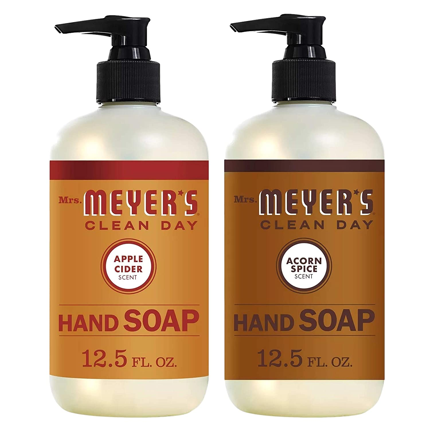Mrs Meyers Clean Day Hand Soap- Apple Cider Bundle With Acorn Spice 12.5 Fl Oz ( 2 Bottles )