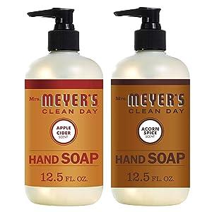 Mrs Meyers Clean Day Hand Soap- Apple Cider Bundle With Acorn Spice 12.5 Fl Oz ( 2 Bottles )