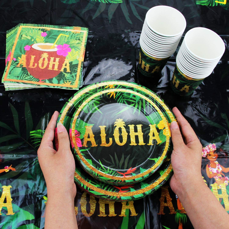 102 Piece Hawaiian, Luau, Aloha Party Supplies Satz Including Banner, Plates, Cups, Napkins, und Tablecloth, Serves 25