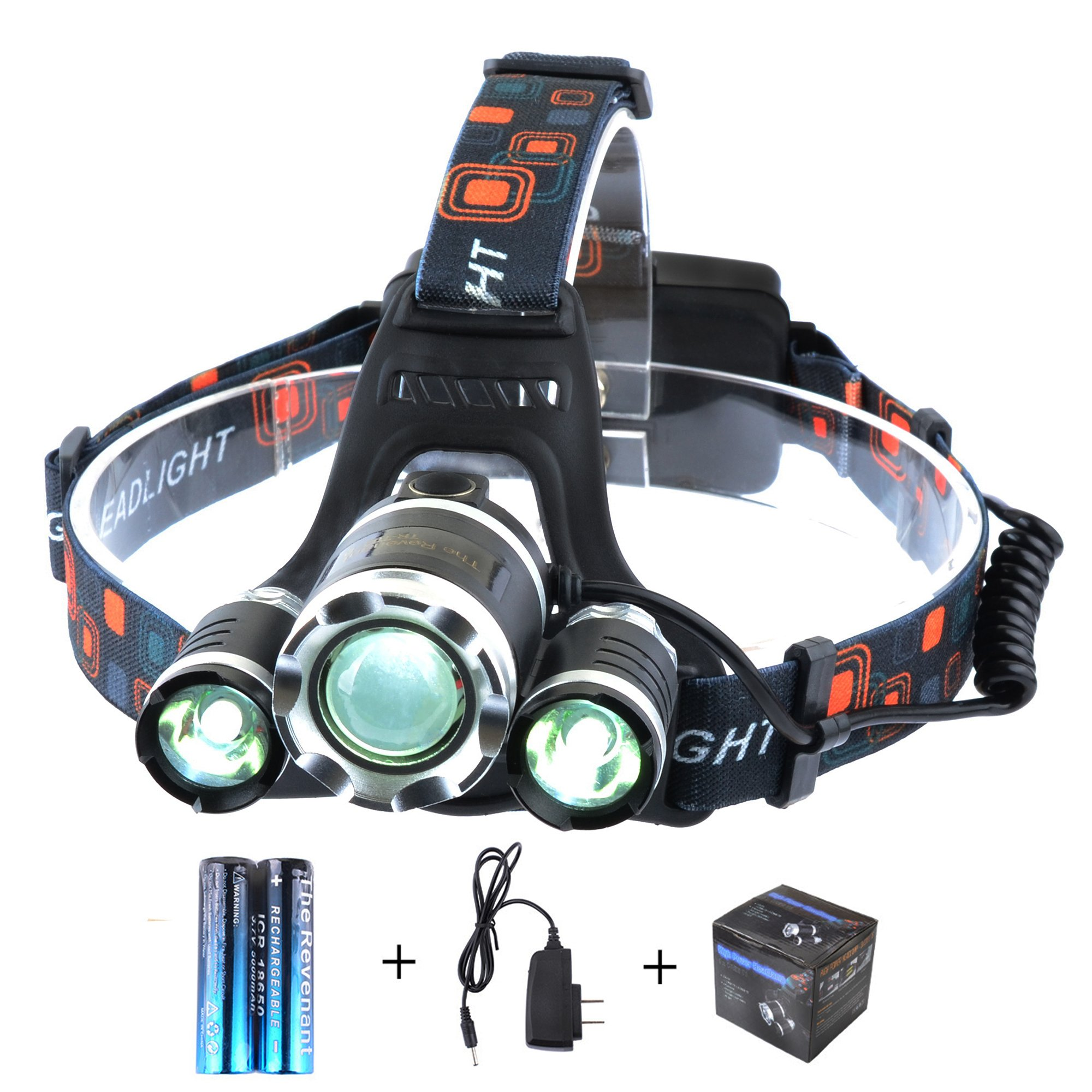 The Revenant Super Bright LED Headlamp Headlight 5000 Lumens 4 Modes 3 CREE XM-L T6 Zooomable Waterproof, Rechargeable Battery & Charger