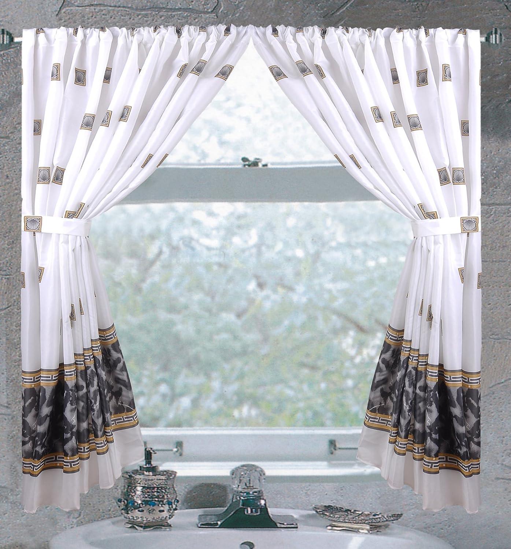 "Carnation Home /""Windsor/"" Fabric Window Curtain in Slate"