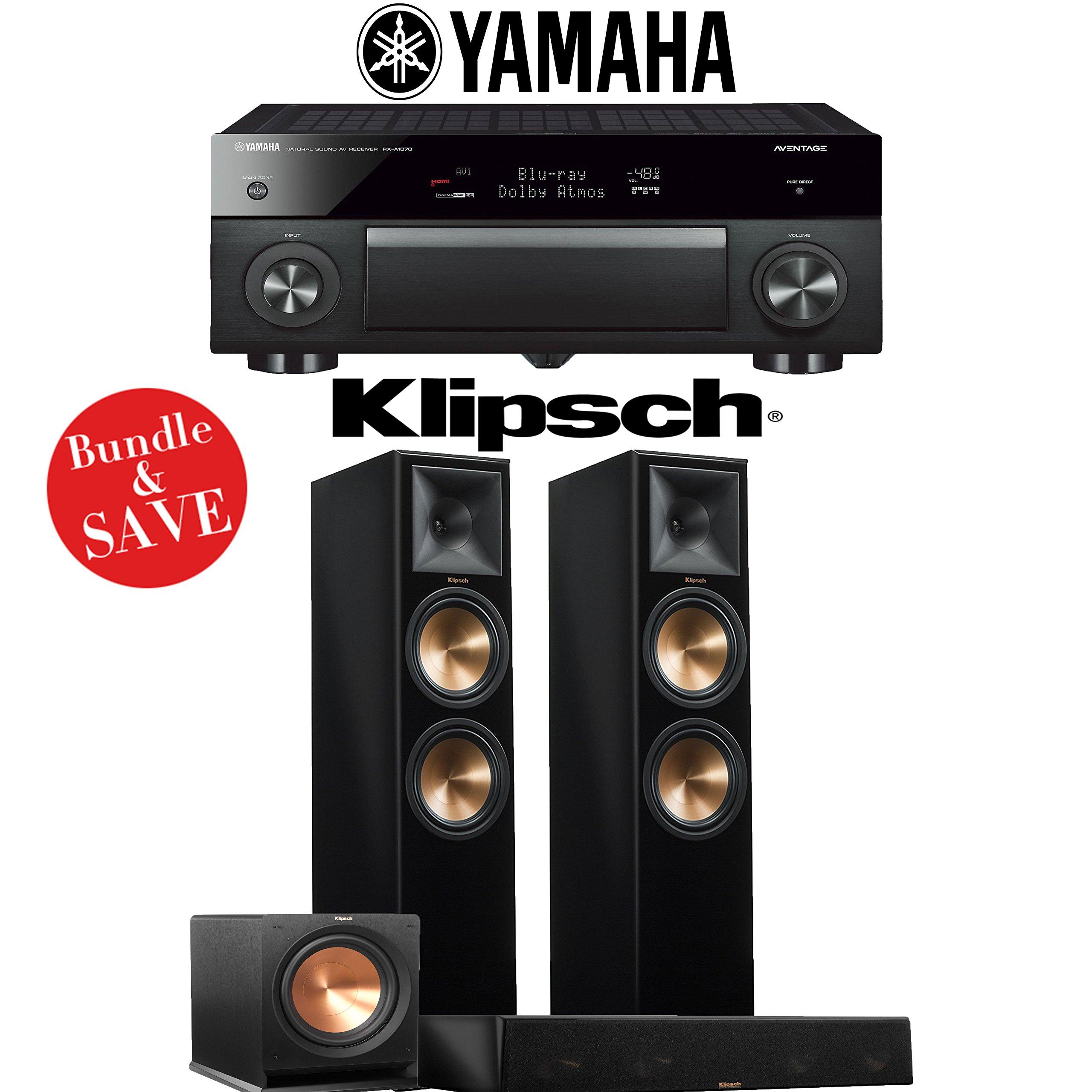 Yamaha AVENTAGE RX-A1070BL 7.2-Ch 4K Network AV Receiver + Klipsch RP-280F + Klipsch RP-450C + Klipsch R-112SW - 3.1-Ch Home Theater Package (Piano Black) by Klipschhh