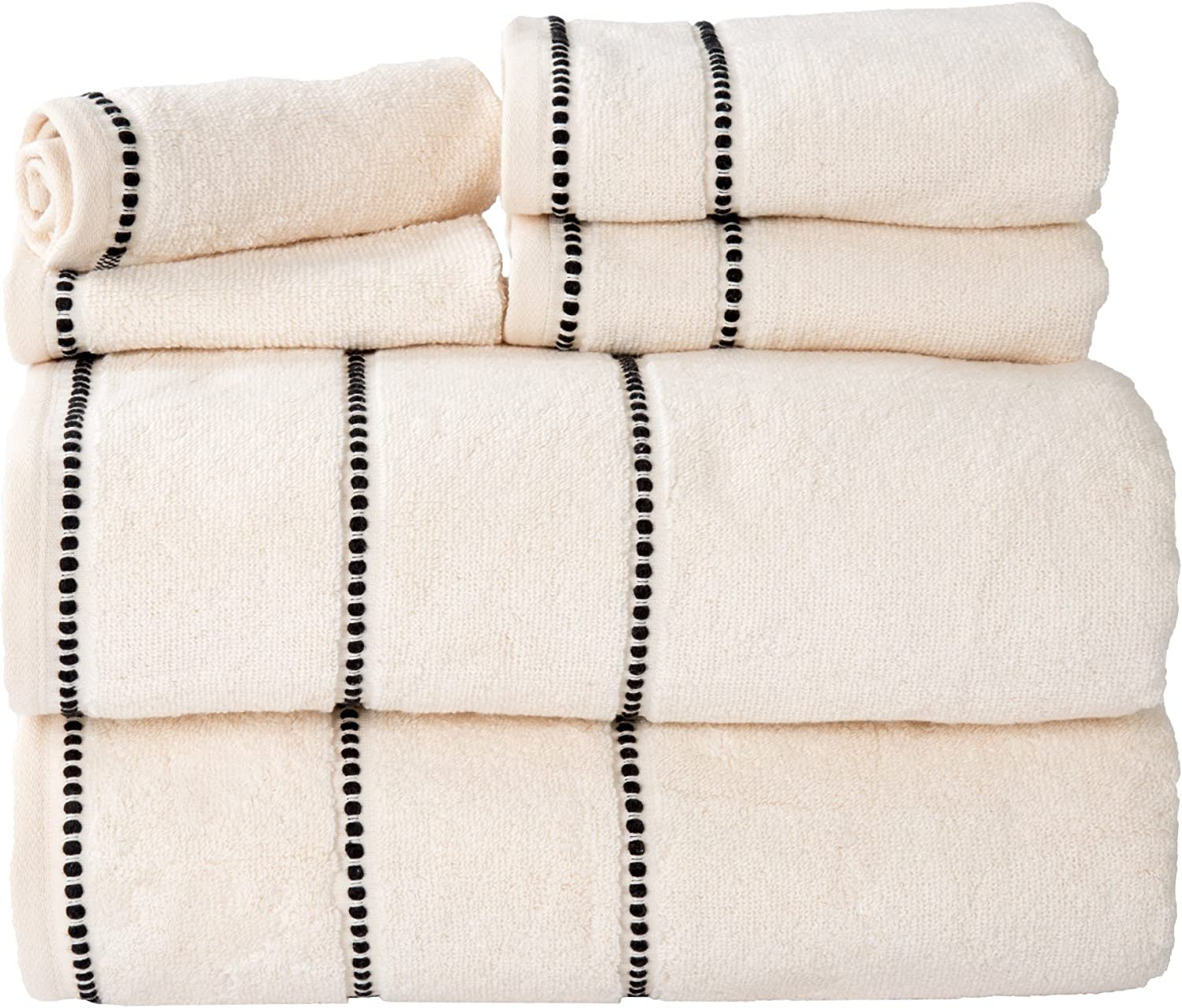Luxury Cotton Towel Set- Quick Dry, Zero Twist and Soft 6 Piece Set With 2 Bath Towels, 2 Hand Towels and 2 Washcloths By Lavish Home (Bone / Black