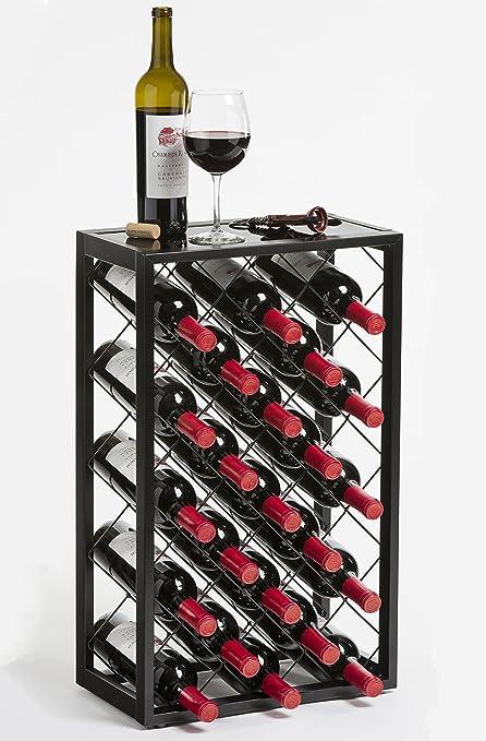 Mango Steam 23 Bottle Wine Rack With Glass Table Top Black Amazon
