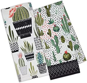 """DII Urban Oasis Printed Dish Towels Kitchen Set of 2 Cactus 18"""" by 28"""""""