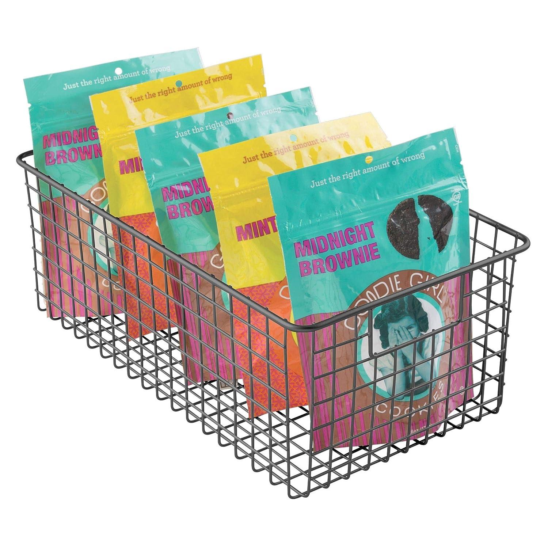 iDesign InterDesign Storage Handles for Organizing Kitchen Cabinets, Pantry – Matte Black Classico Deep Wire Basket 2, Large