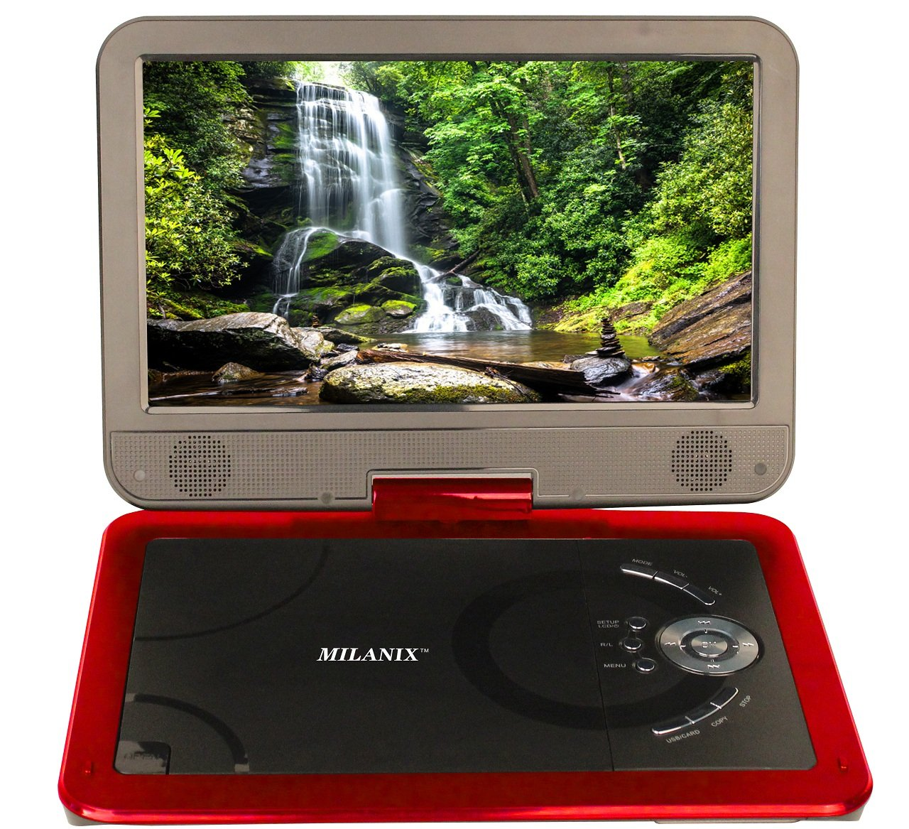"""Milanix 10.5"""" Portable DVD Player with Built-in Rechargeable Battery, CD Player, Swivel Screen, USB Port, and SD Card Slot - Red"""