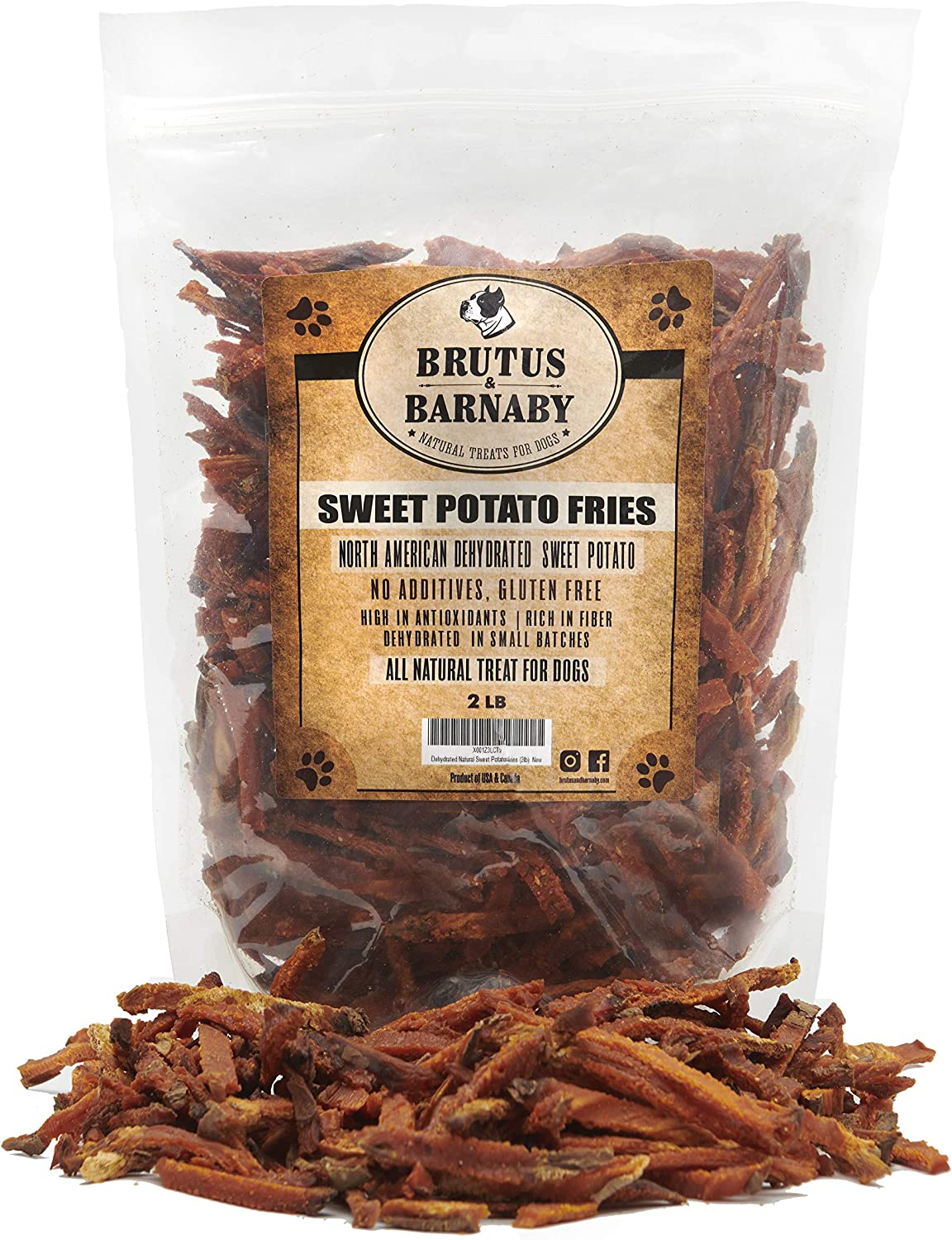 Brutus Barnaby Sweet Potato Dog Treats- No Additive Dehydrated Sweet Potato Fries, Grain Free, Gluten Free and No Preservatives Added