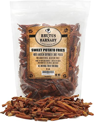 BRUTUS BARNABY Sweet Potato Dog Treats- No Additive Dehydrated Sweet Potato Fries, Grain Free, Gluten Free and No Preservatives Added