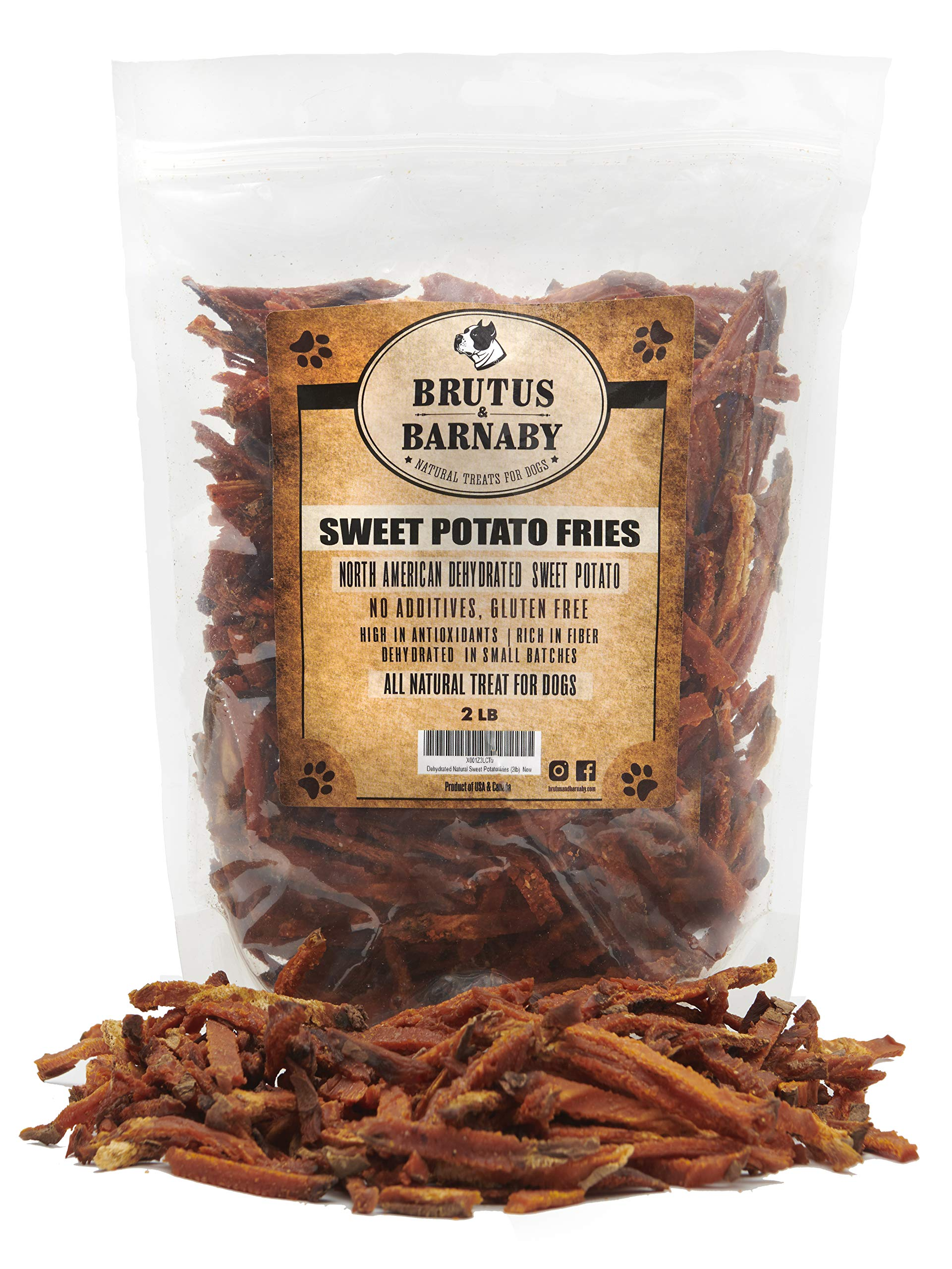 Brutus & Barnaby Sweet Potato Dog Treats- No Additive Dehydrated Sweet Potato Fries, Grain Free, Gluten Free and No Preservatives Added (14 oz) by Brutus & Barnaby