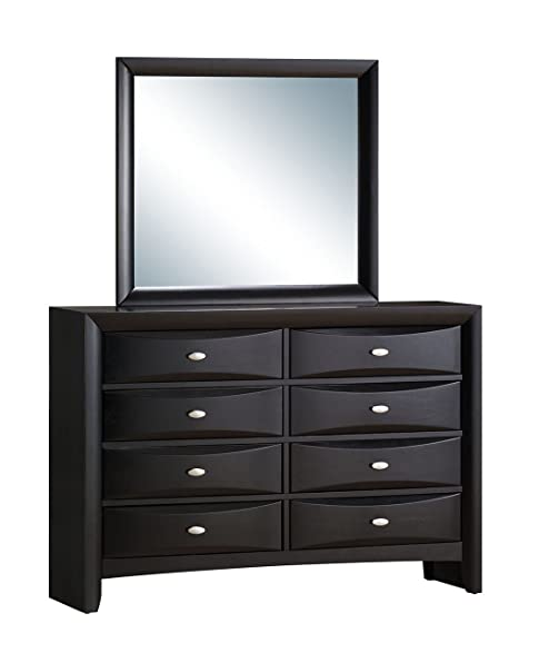 Roundhill Furniture Blemerey Fully Assembled Dresser And Mirror, Black Wood  Finish