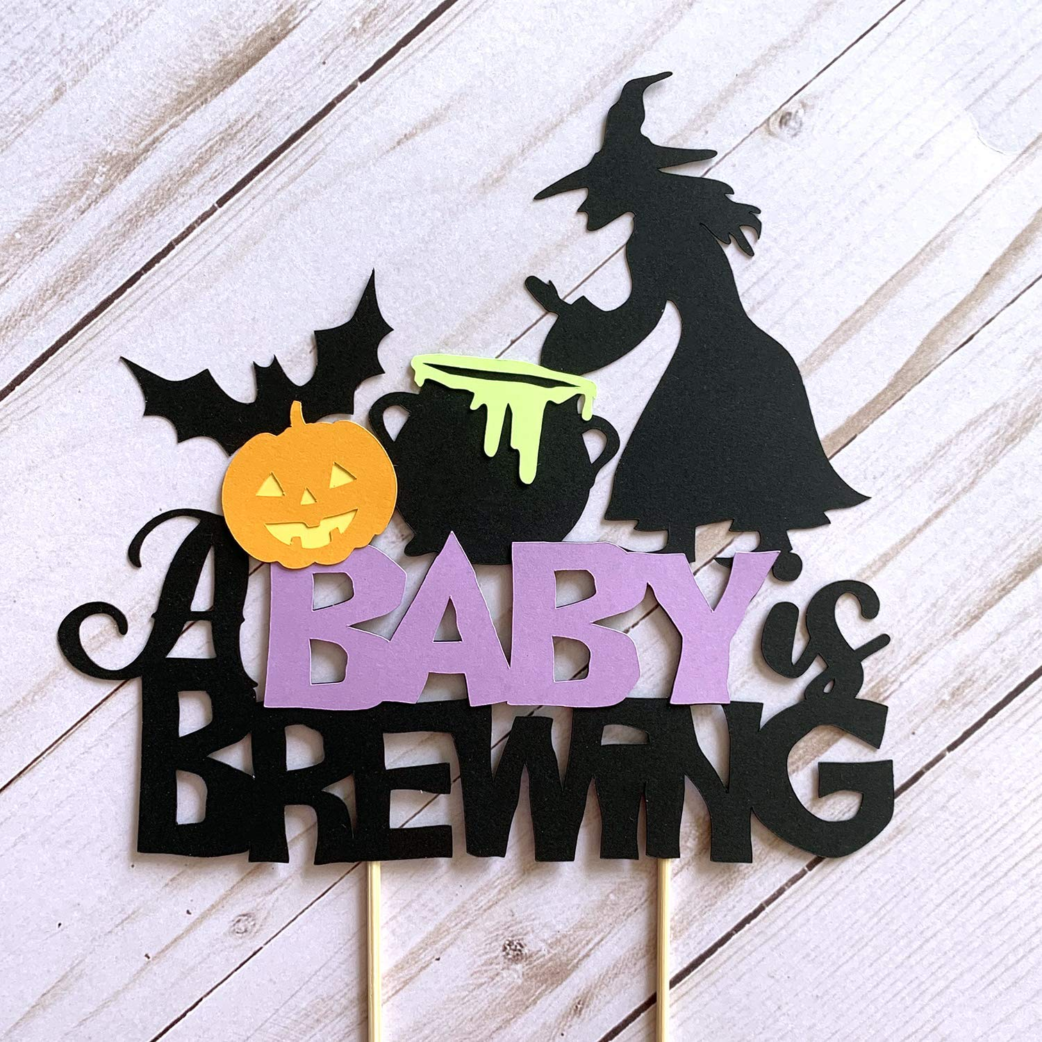 Amazon Com A Baby Is Brewing Cake Topper October Baby Shower Halloween Baby Shower Decor Witch Themed Cake Topper Handmade