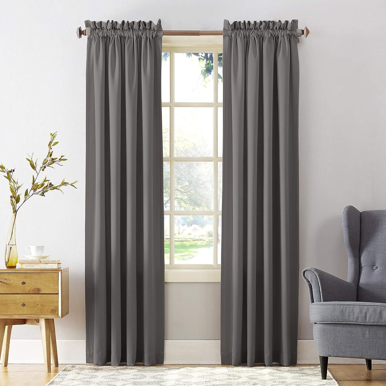 "Sun Zero Barrow Energy Efficient Rod Pocket Curtain Panel, 54"" x 63"", Steel Gray, One Panel"