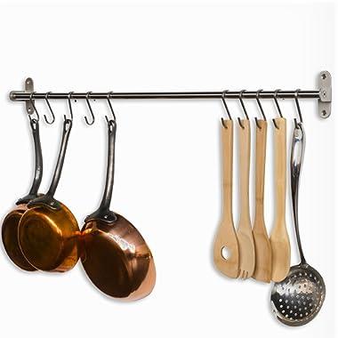 Wallniture Lyon Gourmet Kitchen Wall Mount Rail and 10 Hooks Stainless Steel Pot Pan Lid Holder Rack 31.5 Inch