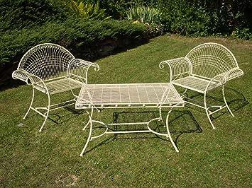Amazon De 2x Gartensessel Eisen Sessel Gartentisch Creme Weiss Antik