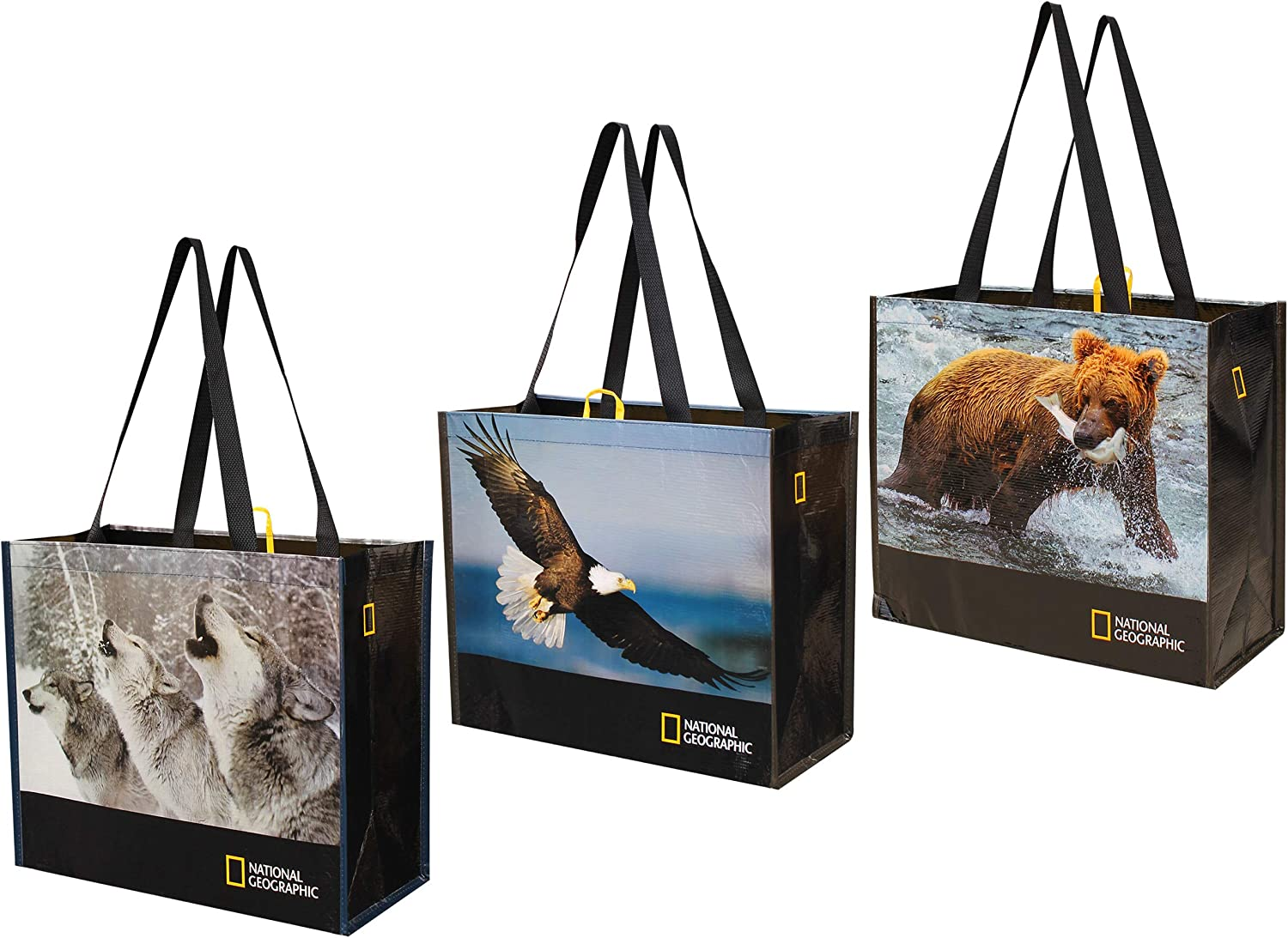 Reusable Grocery Bags Shopping Totes with National Geographic Prints Heavy Duty Made From Recycled Plastic Bottles Laminated Rpet ( Set of 3) (Eagle/Bear/Wolves)