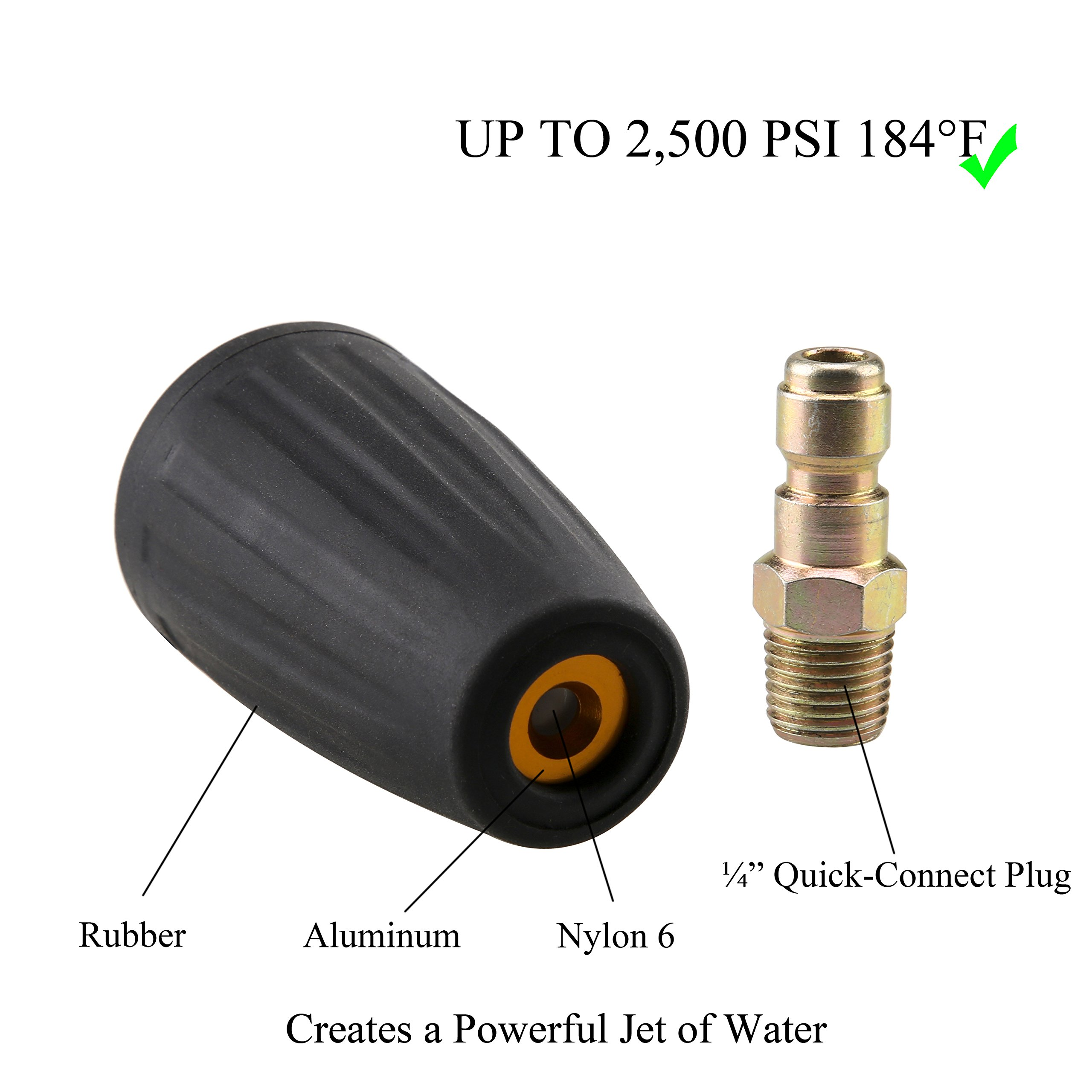 Tool Daily Quick Connect Turbo Spray Nozzle Universal for Cold Water Pressure Washers, 2500 PSI by Tool Daily (Image #3)