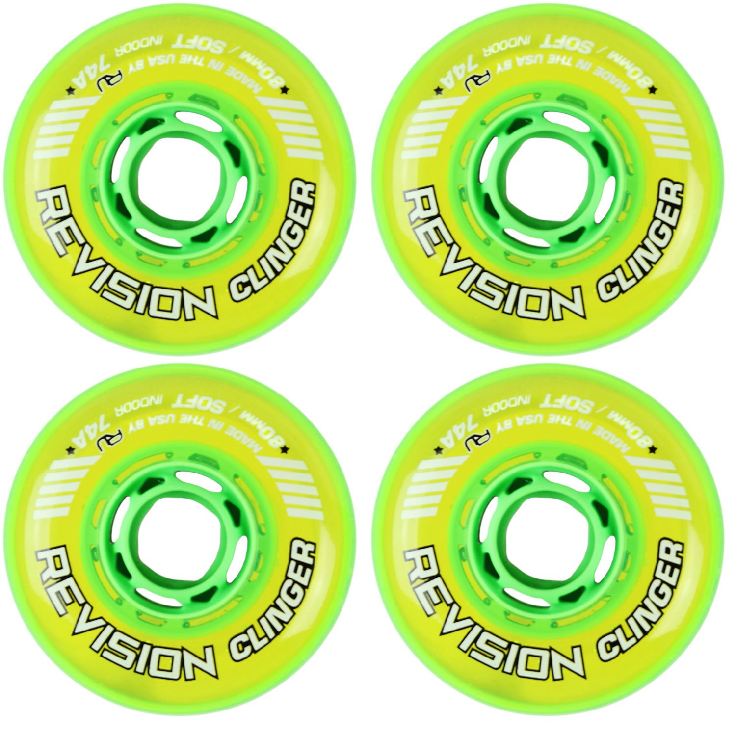 Revision Wheels Inline Roller Hockey Clinger 緑 80mm 74A 4-Pack