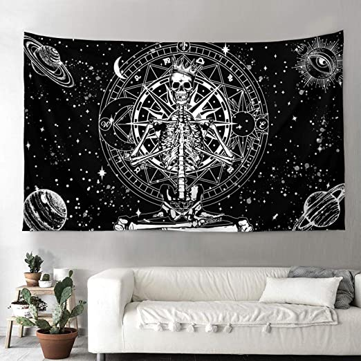 Amazon Com Cool Beard Mystic Skull King Black Moon Star Bedding Tapestry Colorful Nature Landscape For Home Wall Hanging 55 1 X 85 1 In 140cm X 216cm Home Kitchen