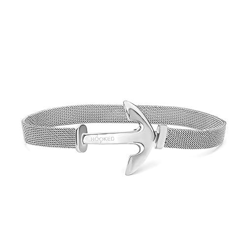 Hooked Armband Anker Edelstahl Mesh Länge 16cm MS18