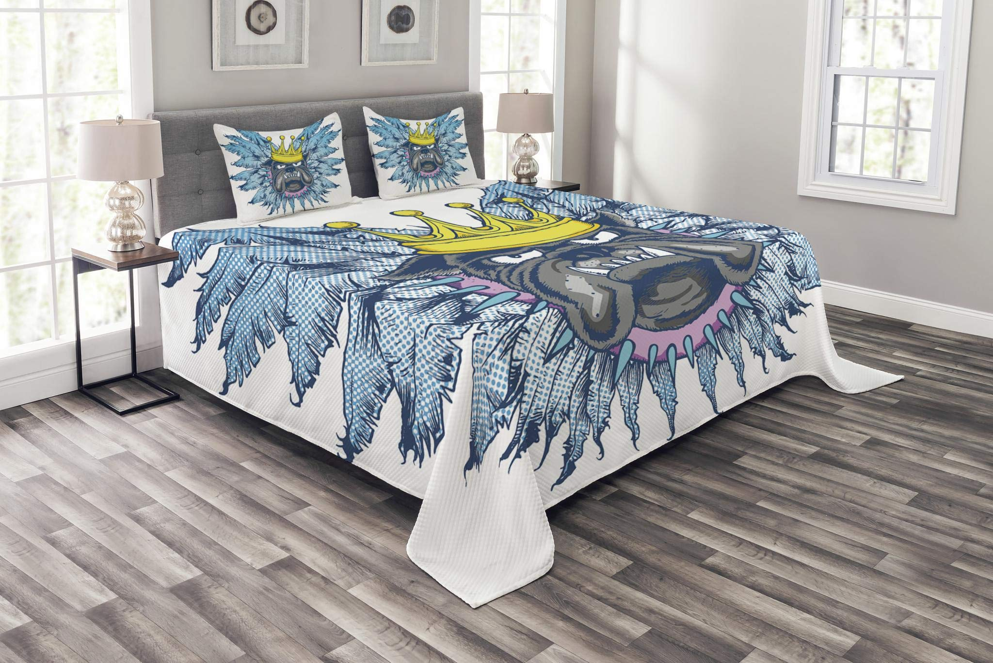 Lunarable Humor Bedspread Set King Size, Grumpy King Puppy Dog with Wing Feathers Fun Cartoon Animal Illustration, Decorative Quilted 3 Piece Coverlet Set with 2 Pillow Shams, Violet Blue Yellow Grey