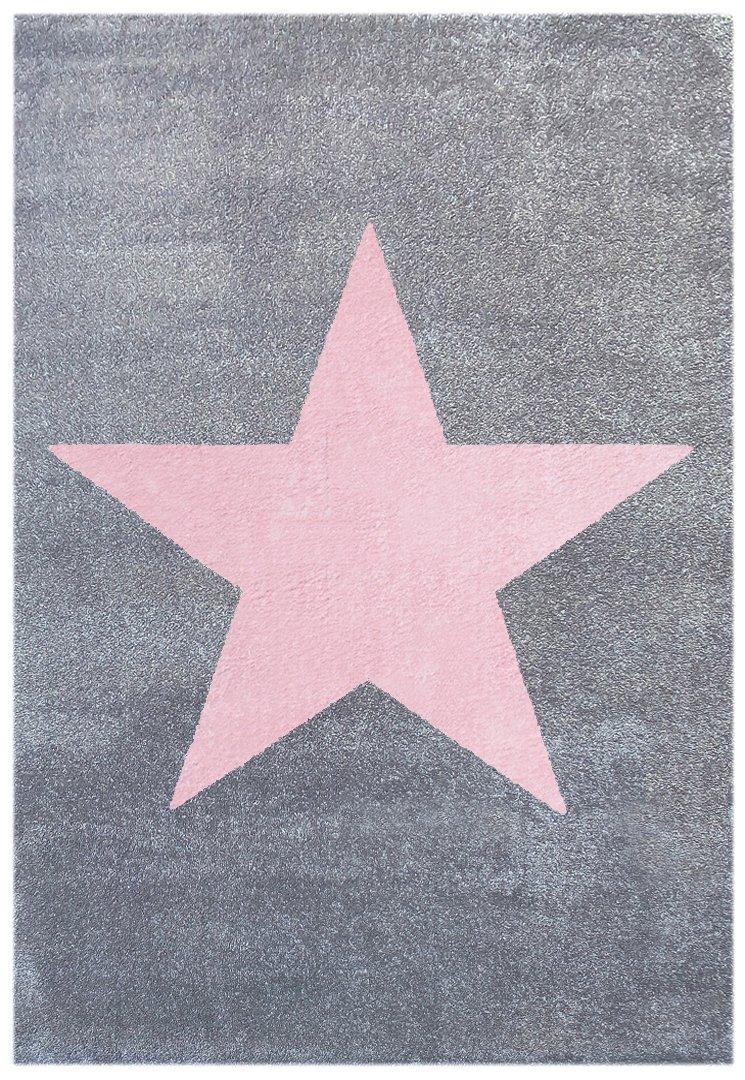 Kinderteppich Happy Rugs STAR silbergrau rosa 120x180 cm
