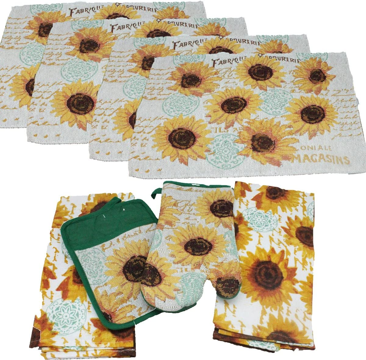 SUNFLOWERS SEEDS by Mirtex 2 pc Printed Kitchen Set 1 Pot Holder /& 1 Oven Mitt