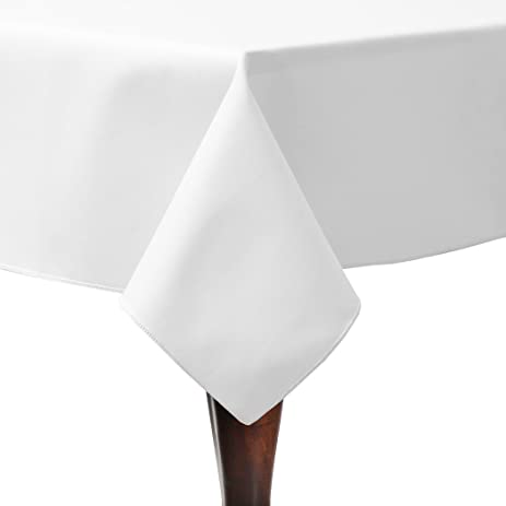 Ultimate Textile Poly Cotton Twill 60 X 60 Inch Square Tablecloth White