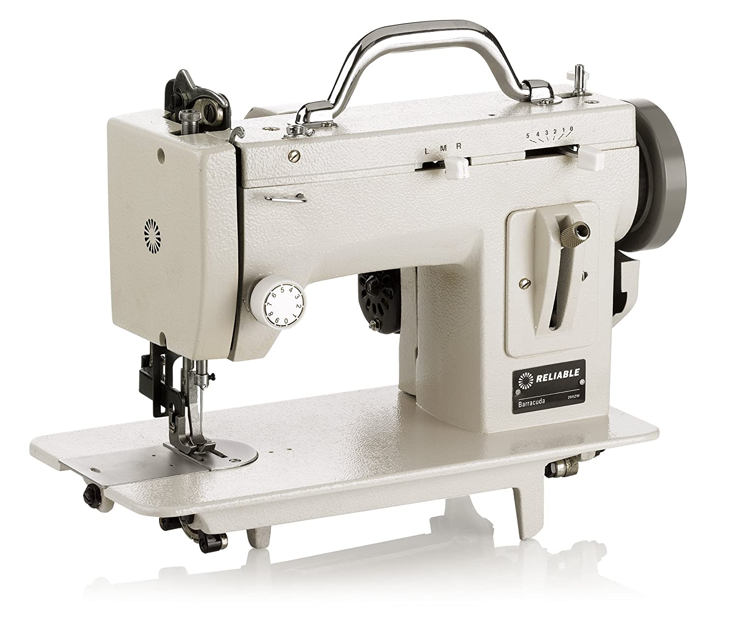 800 Stitches Per Minute Heavy- Duty Metal Construction Built in Speed Reducer Reverse Lever Mechanism Up to 4 Stitches Per Inch Reliable Barracuda 200ZW Zig-Zag Sewing Machine