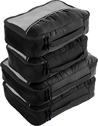 Black White Christmas Luggage Packing Cubes Organizers Toiletry Laundry Storage Bag Pouches Packable Cube 4 Various Sizes Set for Travel Kids Women