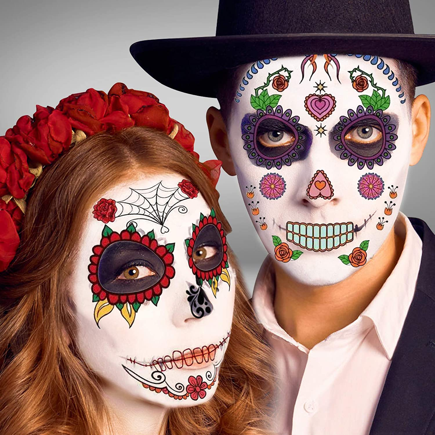 Day of the Dead Face Skeleton Tattoos – 12 Pack Day of the Dead Costume Makeup Kit, Halloween Temporary Sugar Skull Costume Makeup Tattoos for Men Women Adults