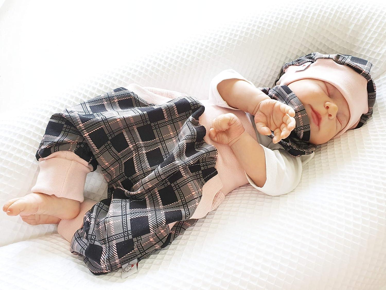 Pumphose oder Set Baby von 50-92 Designerbabyhose karo rosa schwarz Atelier MiaMia