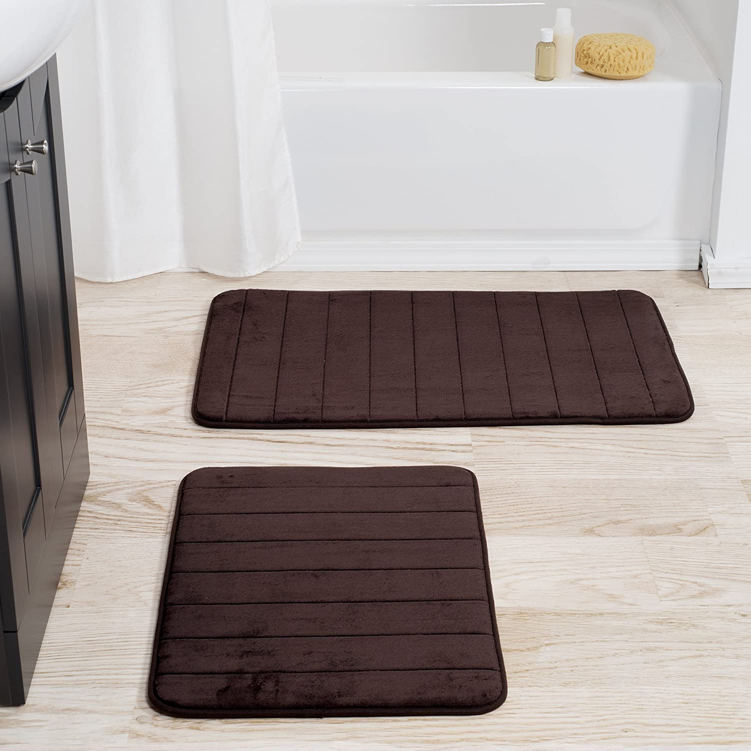 Bedford Home 2 Piece Memory Foam Striped Bath Mat, Chocolate