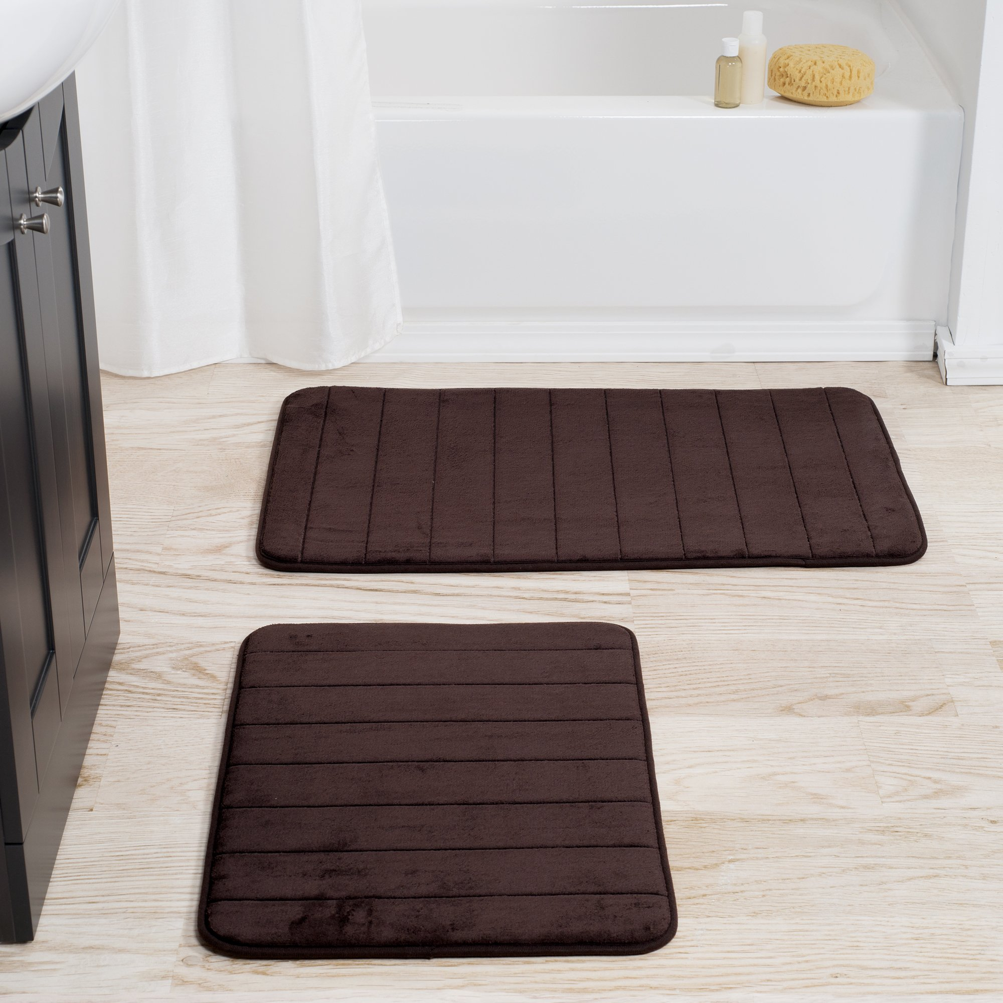 Lavish Home Set of 2 Microfiber Memory Foam Bath Mats - Plush Bathroom Rugs with Nonslip Back and Quick Drying Striped Pattern Top (Brown)
