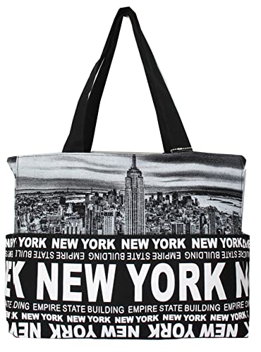 07ef53fa5cbb3 Amazon.com  Robin Ruth New York Skyline Canvas Tote Shoulder Bag Black Black   Shoes