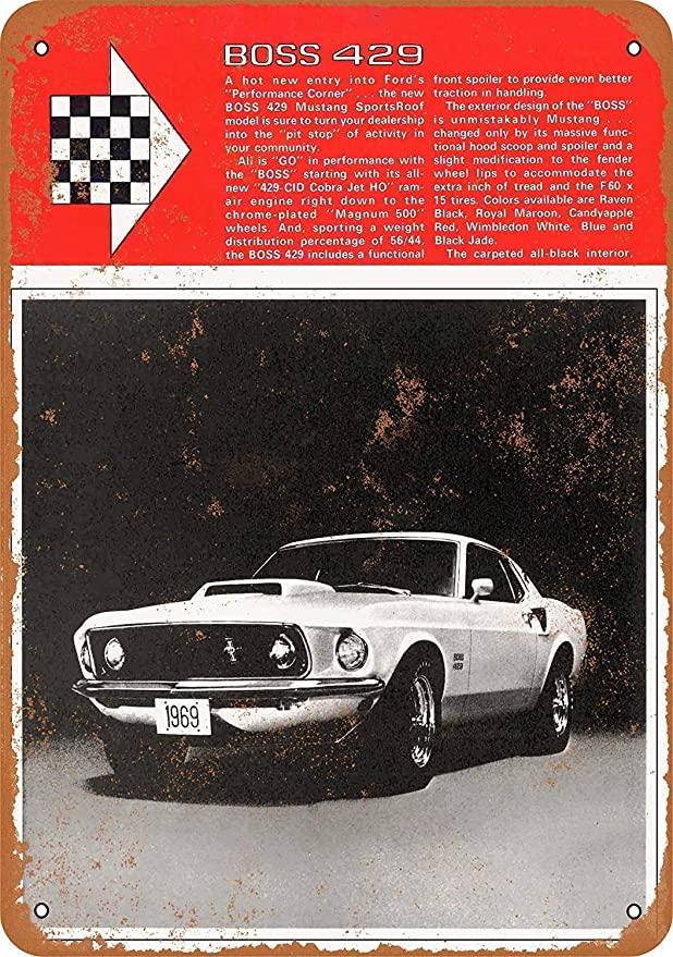 SALWON Mustang Boss 429 -Cartel De Chapa Advertencia Placa ...