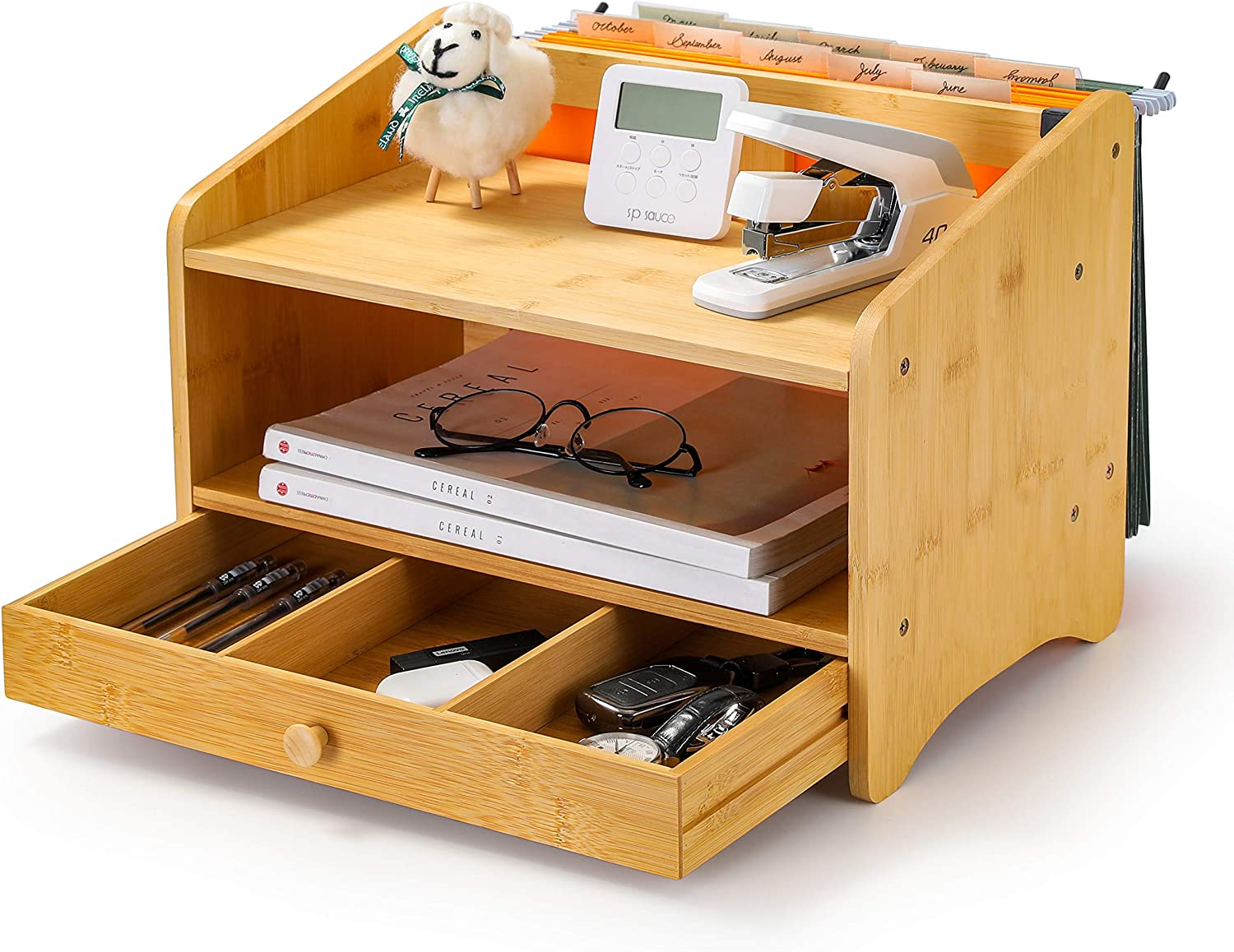 Homerays Bamboo Desk Organizer Wood Desktop Storage 3 Tier Table Top Storage for Pencils, Notepads, Documents & Office Supplies (Bamboo Primary Color)